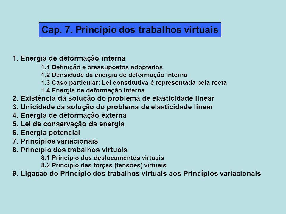 Cap. 7. Princípio dos trabalhos virtuais 1. Energia de deformação interna 1.1 Definição e pressupostos adoptados 1.2 Densidade da energia de deformaçã