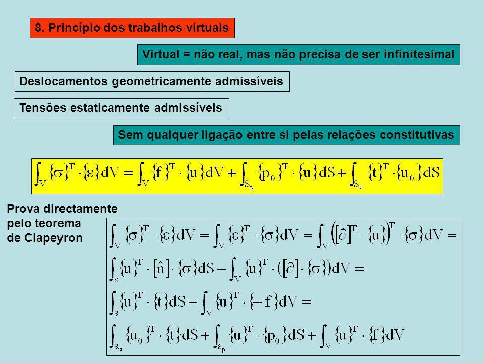 8. Princípio dos trabalhos virtuais Deslocamentos geometricamente admissíveis Tensões estaticamente admissíveis Sem qualquer ligação entre si pelas re
