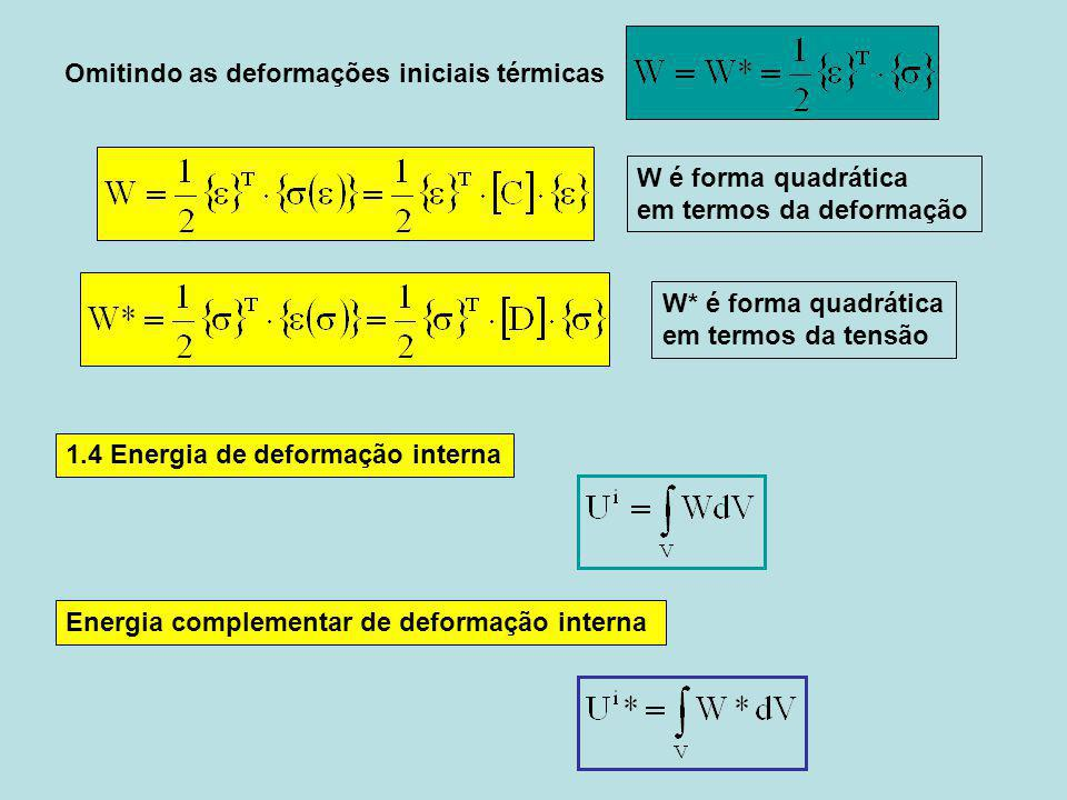 Omitindo as deformações iniciais térmicas 1.4 Energia de deformação interna Energia complementar de deformação interna W é forma quadrática em termos