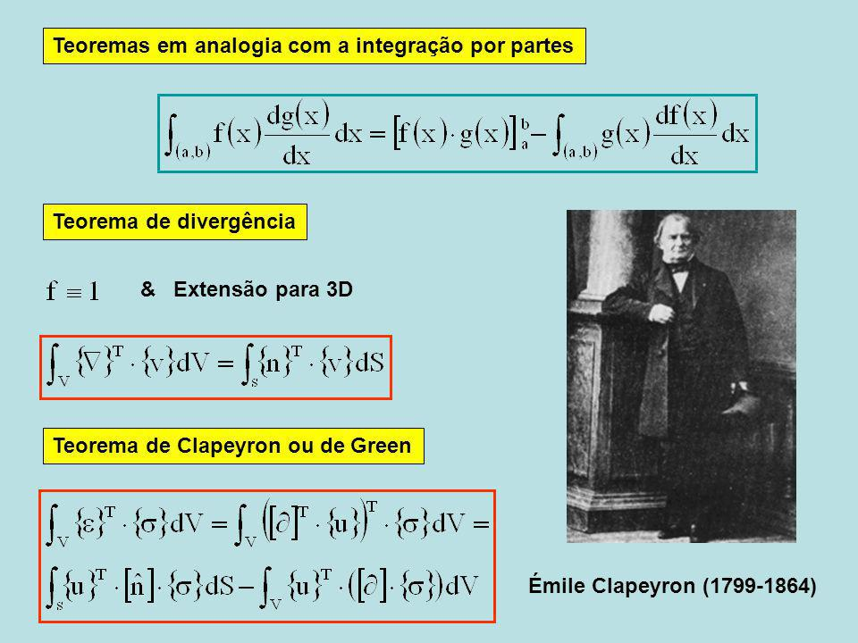 Émile Clapeyron (1799-1864) Teorema de divergência Teoremas em analogia com a integração por partes Teorema de Clapeyron ou de Green & Extensão para 3