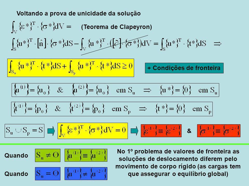 Voltando a prova de unicidade da solução (Teorema de Clapeyron) Quando No 1º problema de valores de fronteira as soluções de deslocamento diferem pelo movimento de corpo rígido (as cargas tem que assegurar o equilíbrio global) & + Condições de fronteira
