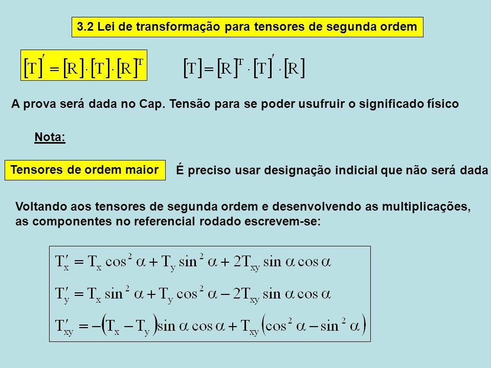 3.2 Lei de transformação para tensores de segunda ordem Tensores de ordem maior É preciso usar designação indicial que não será dada A prova será dada