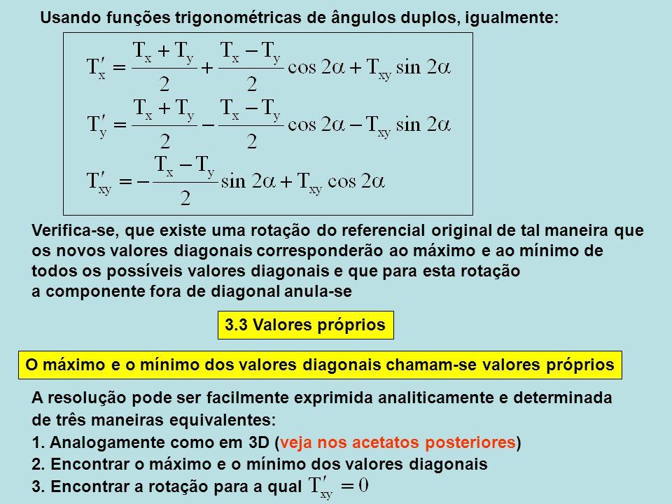 Verifica-se, que existe uma rotação do referencial original de tal maneira que os novos valores diagonais corresponderão ao máximo e ao mínimo de todo