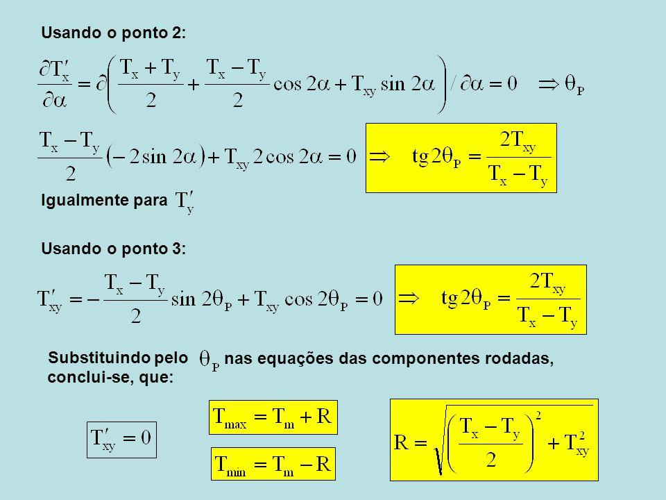 Usando o ponto 2: Usando o ponto 3: Igualmente para Substituindo pelo nas equações das componentes rodadas, conclui-se, que: