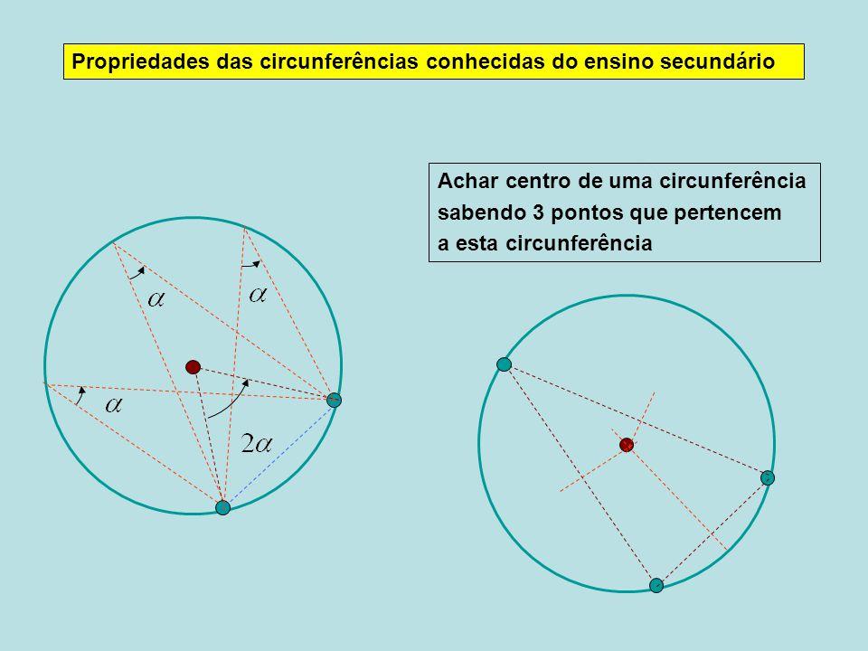 Propriedades das circunferências conhecidas do ensino secundário Achar centro de uma circunferência sabendo 3 pontos que pertencem a esta circunferênc
