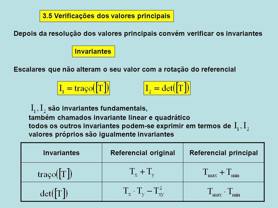 InvariantesReferencial originalReferencial principal Depois da resolução dos valores principais convém verificar os invariantes 3.5 Verificações dos v