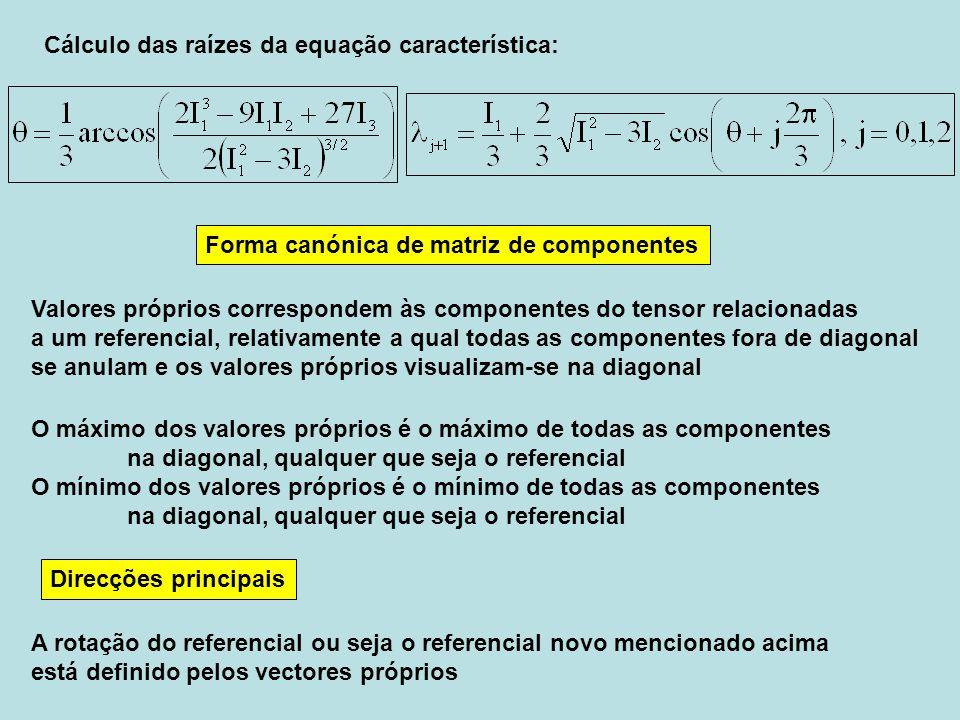 Direcções principais Cálculo das raízes da equação característica: Valores próprios correspondem às componentes do tensor relacionadas a um referencia