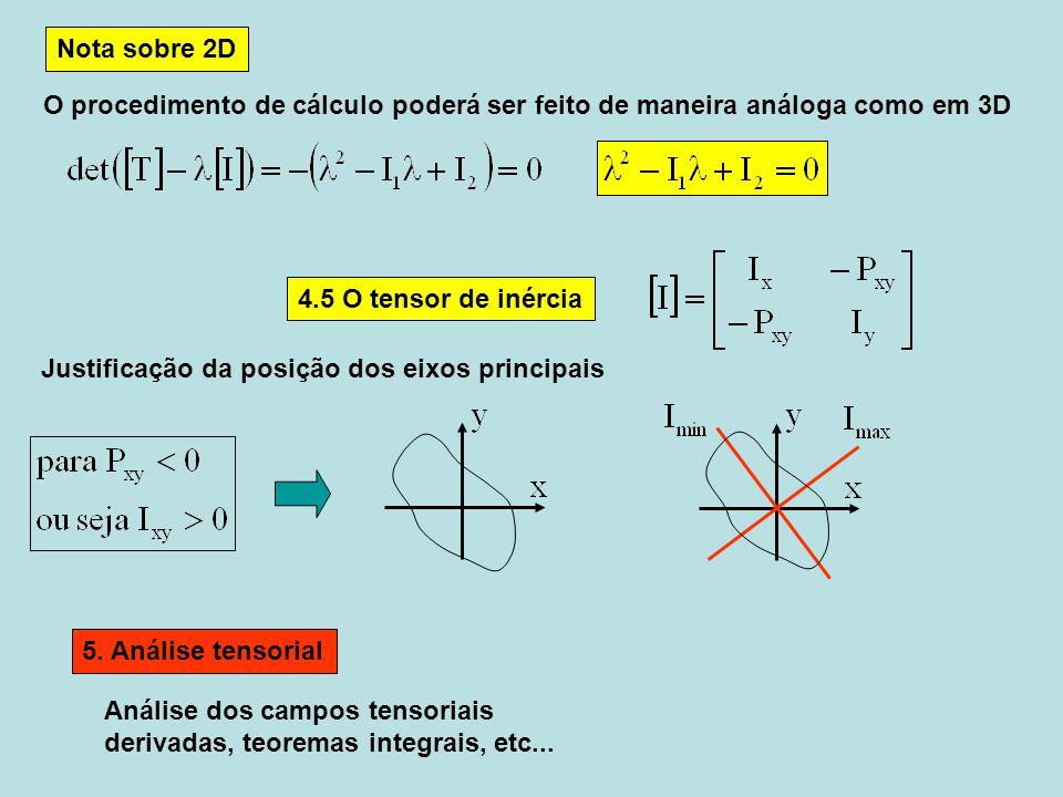 Nota sobre 2D O procedimento de cálculo poderá ser feito de maneira análoga como em 3D 4.5 O tensor de inércia Justificação da posição dos eixos princ