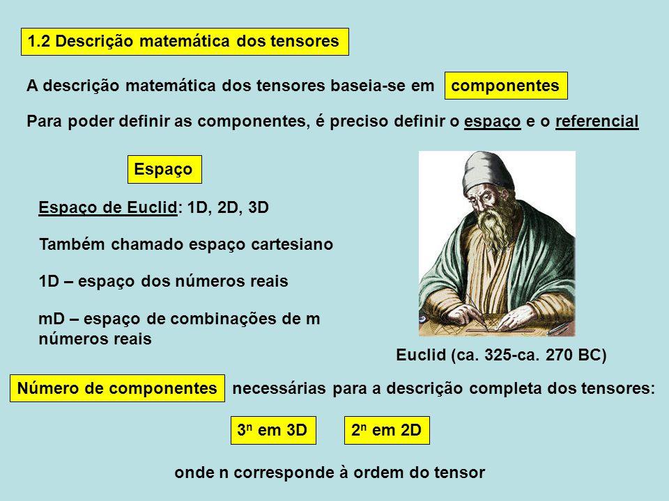 1.2 Descrição matemática dos tensores A descrição matemática dos tensores baseia-se em 3 n em 3D2 n em 2D onde n corresponde à ordem do tensor necessá