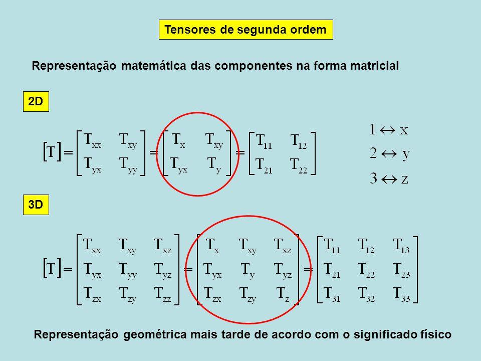 Tensores de segunda ordem Representação matemática das componentes na forma matricial Representação geométrica mais tarde de acordo com o significado