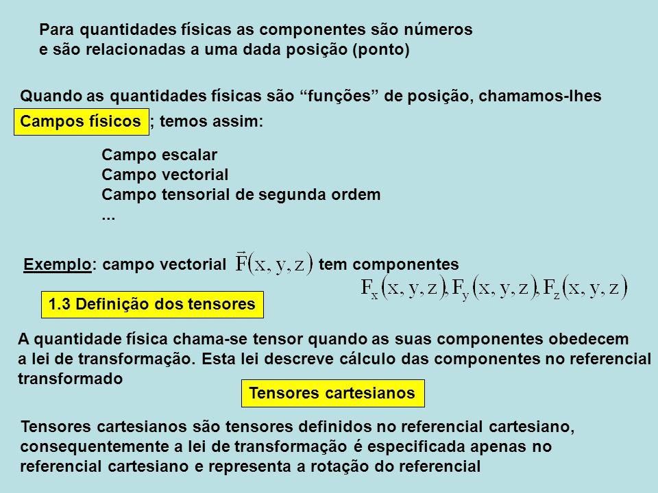 1.3 Definição dos tensores A quantidade física chama-se tensor quando as suas componentes obedecem a lei de transformação. Esta lei descreve cálculo d