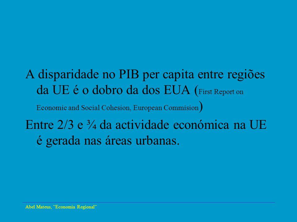 Abel Mateus, Economia Regional A disparidade no PIB per capita entre regiões da UE é o dobro da dos EUA ( First Report on Economic and Social Cohesion