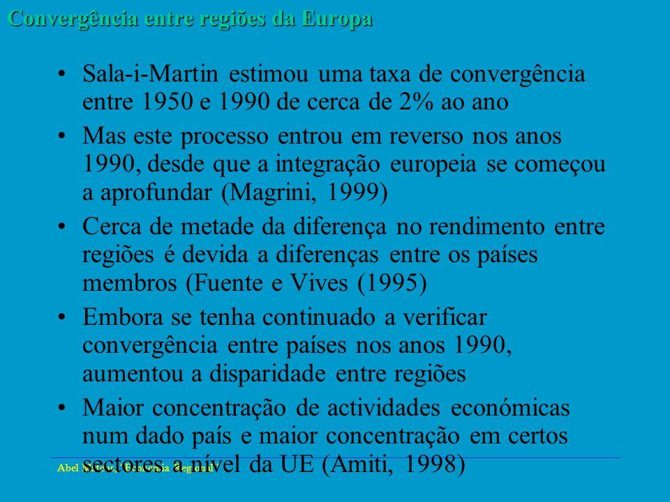 Abel Mateus, Economia Regional Convergência entre regiões da Europa Sala-i-Martin estimou uma taxa de convergência entre 1950 e 1990 de cerca de 2% ao
