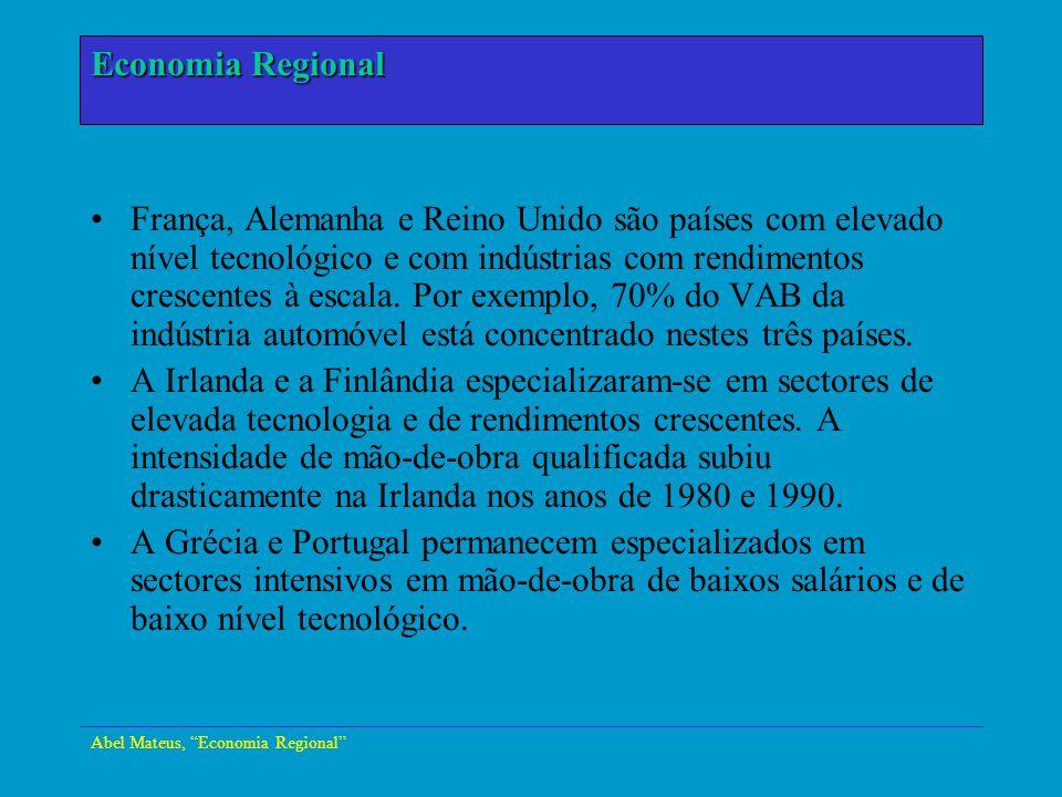 Abel Mateus, Economia Regional Economia Urbana França, Alemanha e Reino Unido são países com elevado nível tecnológico e com indústrias com rendimento