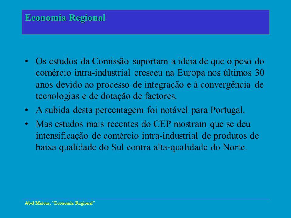 Abel Mateus, Economia Regional Economia Urbana Os estudos da Comissão suportam a ideia de que o peso do comércio intra-industrial cresceu na Europa no