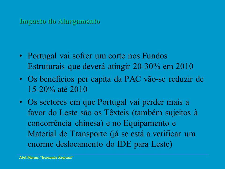 Abel Mateus, Economia Regional Impacto do Alargamento Portugal vai sofrer um corte nos Fundos Estruturais que deverá atingir 20-30% em 2010 Os benefíc