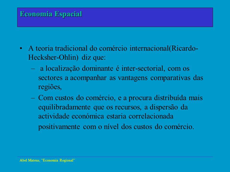 Abel Mateus, Economia Regional Economia Urbana A teoria tradicional do comércio internacional(Ricardo- Hecksher-Ohlin) diz que: – a localização domina