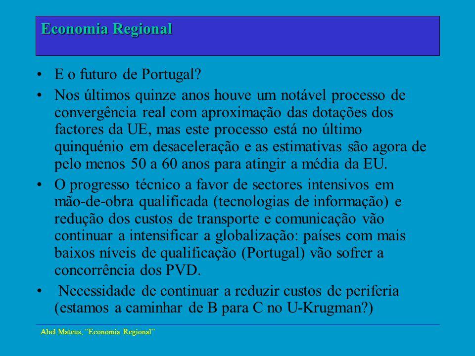 Economia Urbana E o futuro de Portugal? Nos últimos quinze anos houve um notável processo de convergência real com aproximação das dotações dos factor