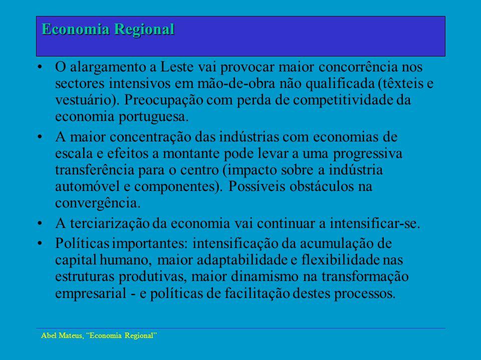 Abel Mateus, Economia Regional Economia Urbana O alargamento a Leste vai provocar maior concorrência nos sectores intensivos em mão-de-obra não qualif