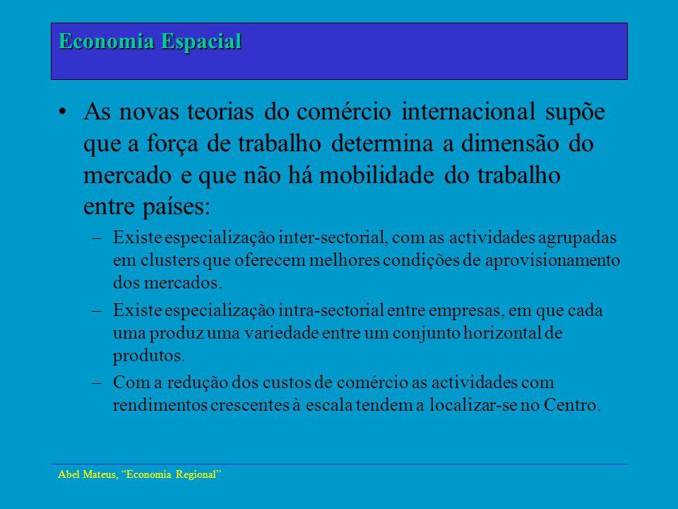 Abel Mateus, Economia Regional Economia Urbana As novas teorias do comércio internacional supõe que a força de trabalho determina a dimensão do mercad