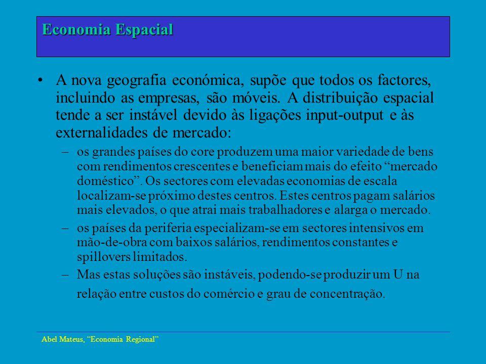 Abel Mateus, Economia Regional Economia Urbana Principal conclusão: ainda é cedo para verificar a teoria de U-da- especialização na Europa, mas a evidência está a indicar uma tendência para maior concentração, seja a nível de país, seja a nível da EU.