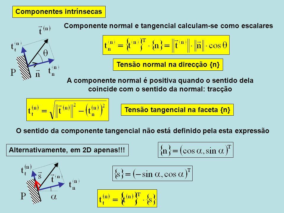 Componentes intrínsecas O sentido da componente tangencial não está definido pela esta expressão Componente normal e tangencial calculam-se como escalares A componente normal é positiva quando o sentido dela coincide com o sentido da normal: tracção Alternativamente, em 2D apenas!!.
