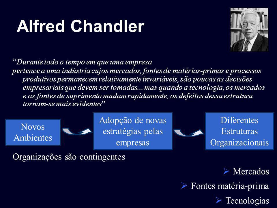 Alfred Chandler Durante todo o tempo em que uma empresa pertence a uma indústria cujos mercados, fontes de matérias-primas e processos produtivos perm