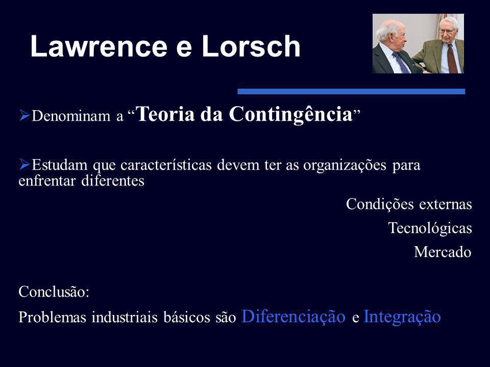 Lawrence e Lorsch Denominam a Teoria da Contingência Estudam que características devem ter as organizações para enfrentar diferentes Condições externa