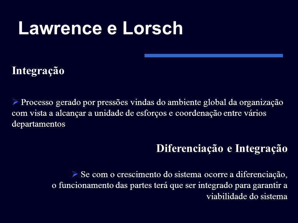 Lawrence e Lorsch Integração Processo gerado por pressões vindas do ambiente global da organização com vista a alcançar a unidade de esforços e coorde
