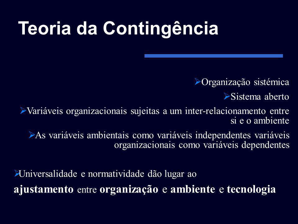 Teoria da Contingência Organização sistémica Sistema aberto Variáveis organizacionais sujeitas a um inter-relacionamento entre si e o ambiente As vari