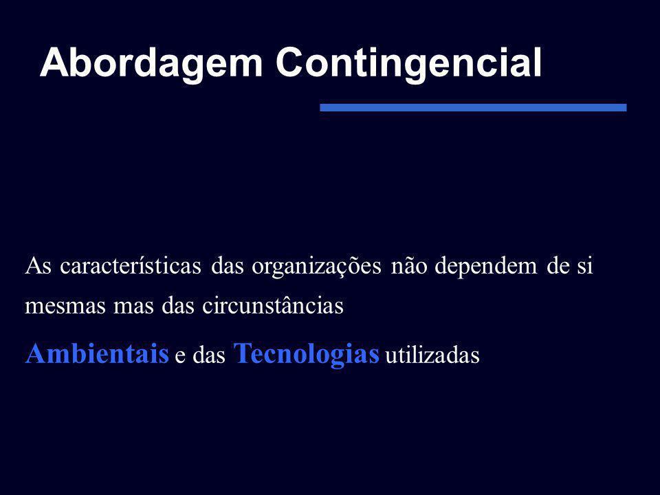 Abordagem Contingencial As características das organizações não dependem de si mesmas mas das circunstâncias Ambientais e das Tecnologias utilizadas