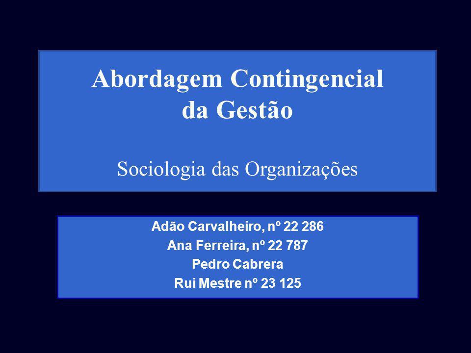 Adão Carvalheiro, nº 22 286 Ana Ferreira, nº 22 787 Pedro Cabrera Rui Mestre nº 23 125 Abordagem Contingencial da Gestão Sociologia das Organizações