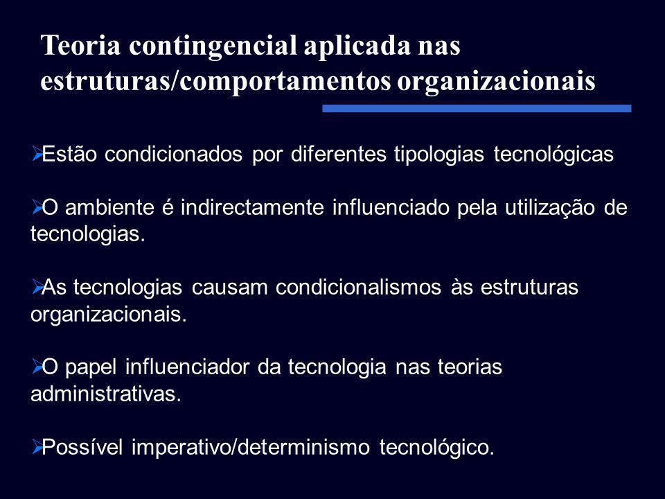 Estão condicionados por diferentes tipologias tecnológicas O ambiente é indirectamente influenciado pela utilização de tecnologias. As tecnologias cau