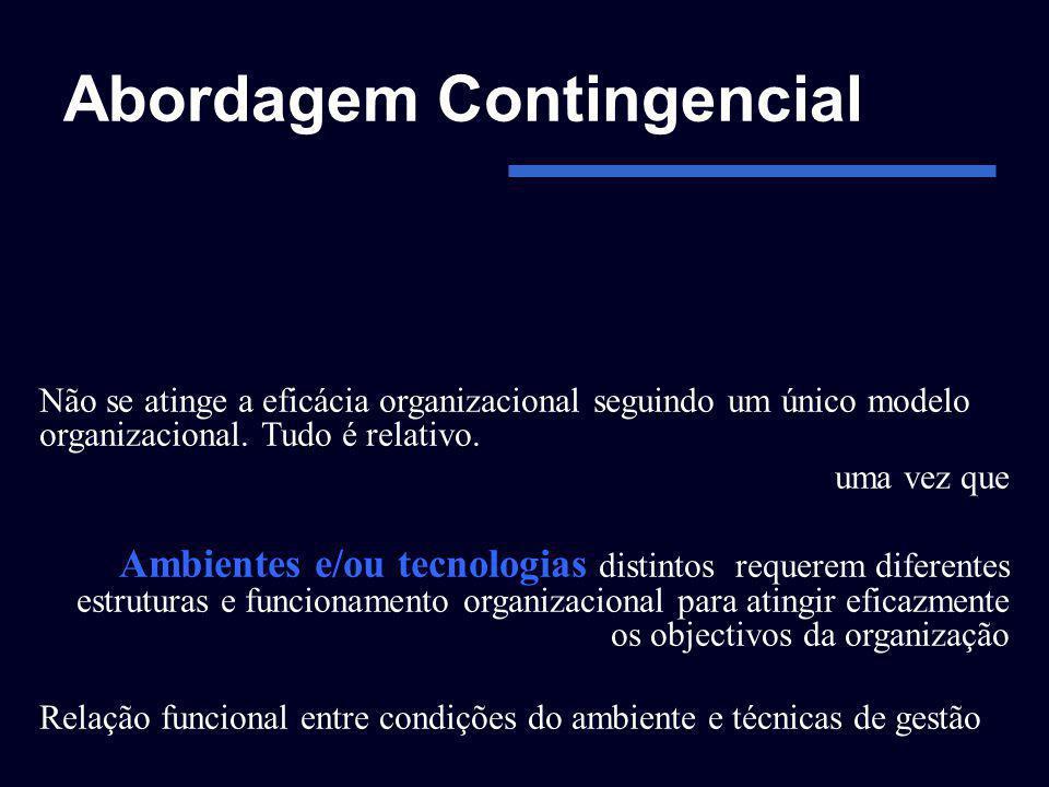 Abordagem Contingencial Não se atinge a eficácia organizacional seguindo um único modelo organizacional. Tudo é relativo. uma vez que Ambientes e/ou t