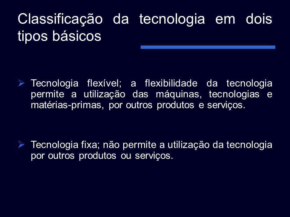 Classificação da tecnologia em dois tipos básicos Tecnologia flexível; a flexibilidade da tecnologia permite a utilização das máquinas, tecnologias e