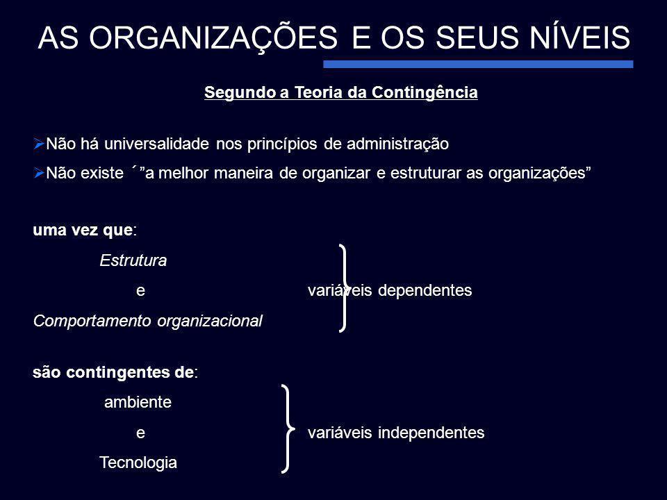 Segundo a Teoria da Contingência Não há universalidade nos princípios de administração Não existe ´a melhor maneira de organizar e estruturar as organ