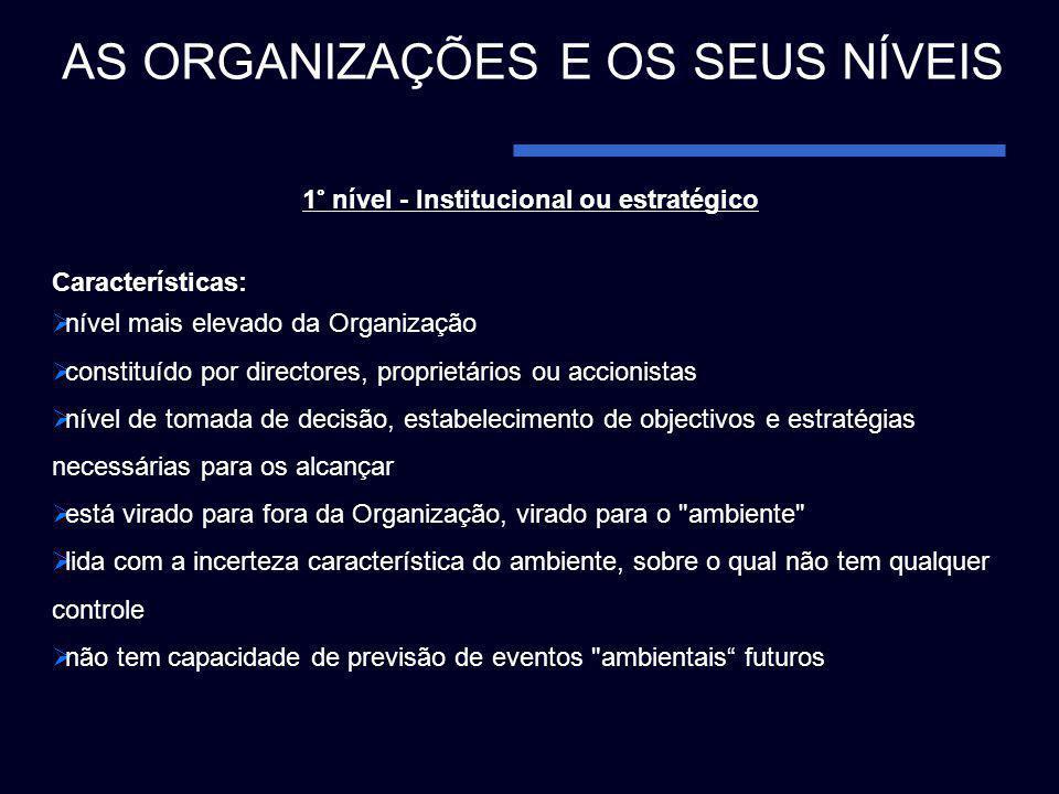 1° nível - Institucional ou estratégico Características: nível mais elevado da Organização constituído por directores, proprietários ou accionistas ní