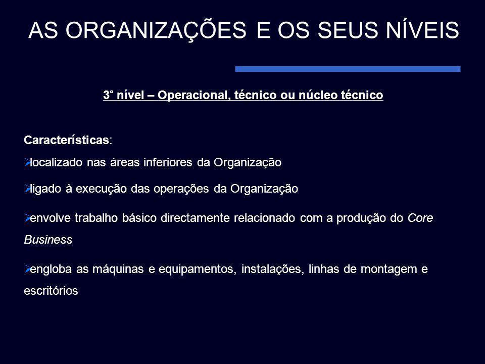 3° nível – Operacional, técnico ou núcleo técnico Características: localizado nas áreas inferiores da Organização ligado à execução das operações da O
