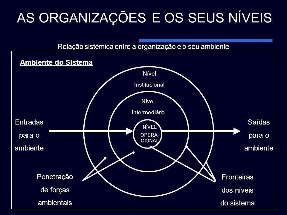 Ambiente do Sistema Nível Institucional Nível Intermediário NÍVEL OPERA- CIONAL Saídas para o ambiente Entradas para o ambiente AS ORGANIZAÇÕES E OS S