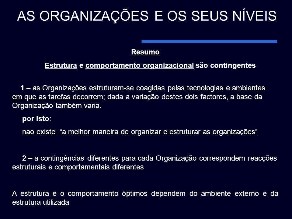 Resumo Estrutura e comportamento organizacional são contingentes 1 – as Organizações estruturam-se coagidas pelas tecnologias e ambientes em que as ta