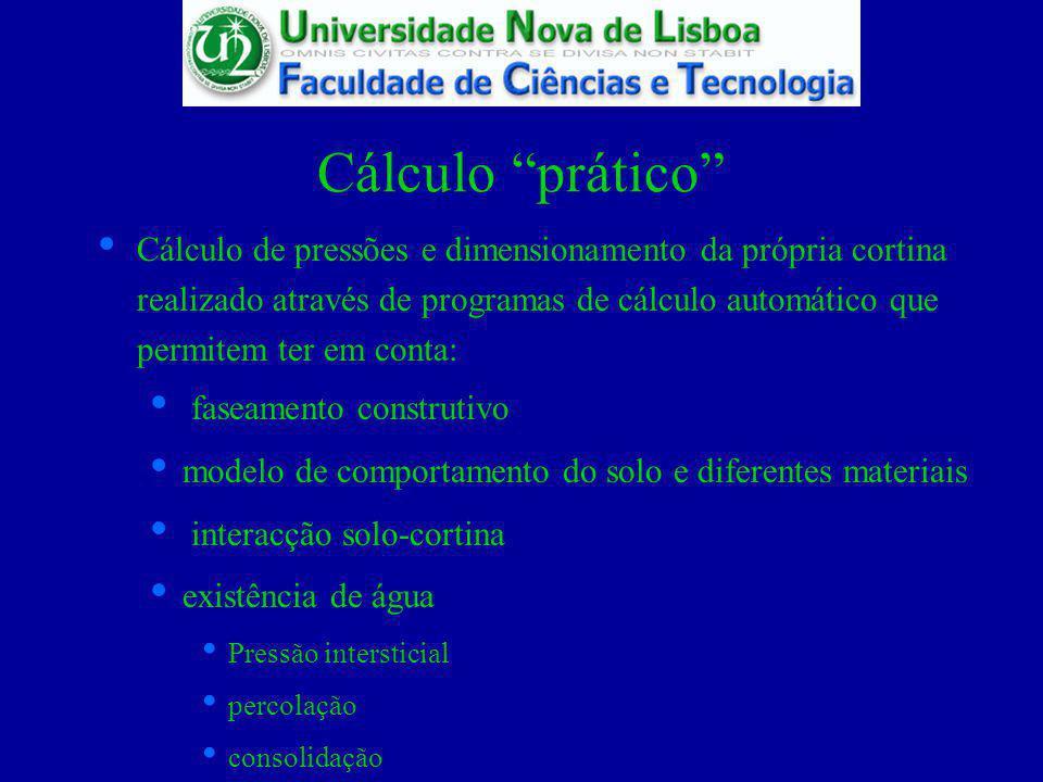 Cálculo prático Cálculo de pressões e dimensionamento da própria cortina realizado através de programas de cálculo automático que permitem ter em cont