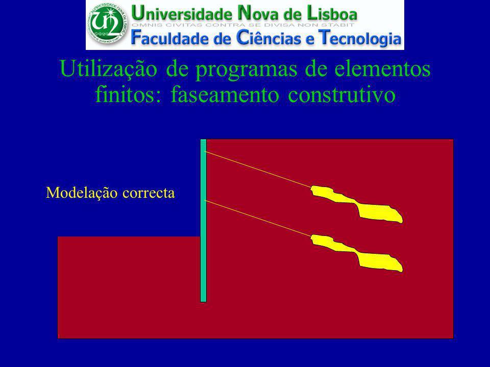 Utilização de programas de elementos finitos: faseamento construtivo Modelação correcta