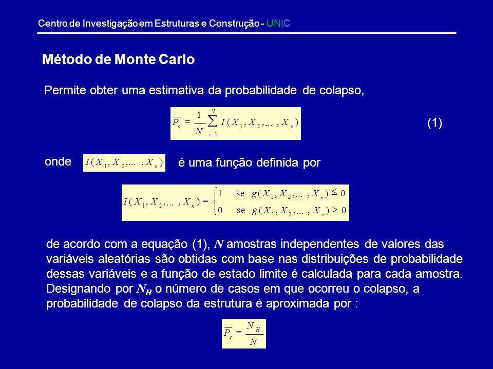 Centro de Investigação em Estruturas e Construção - UNIC A fiabilidade de uma estrutura pode também ser medida pelo índice de fiabilidade,, que repres