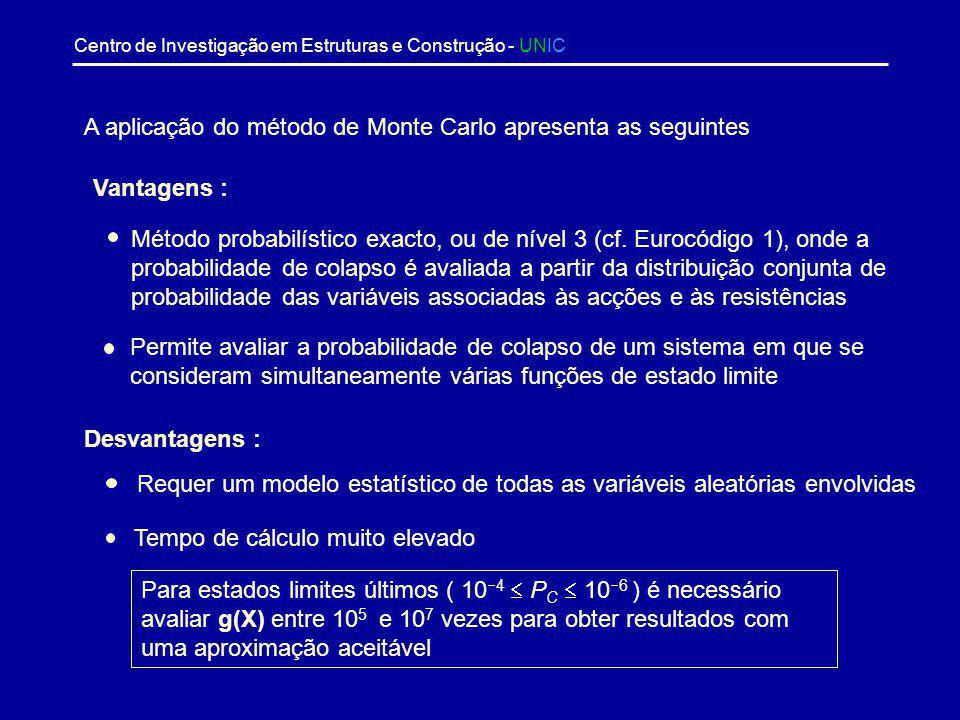 Centro de Investigação em Estruturas e Construção - UNIC Método de Monte Carlo onde ),,...,( 21n XXXI é uma função definida por 0),,,( se 0 0),,,( 1 )