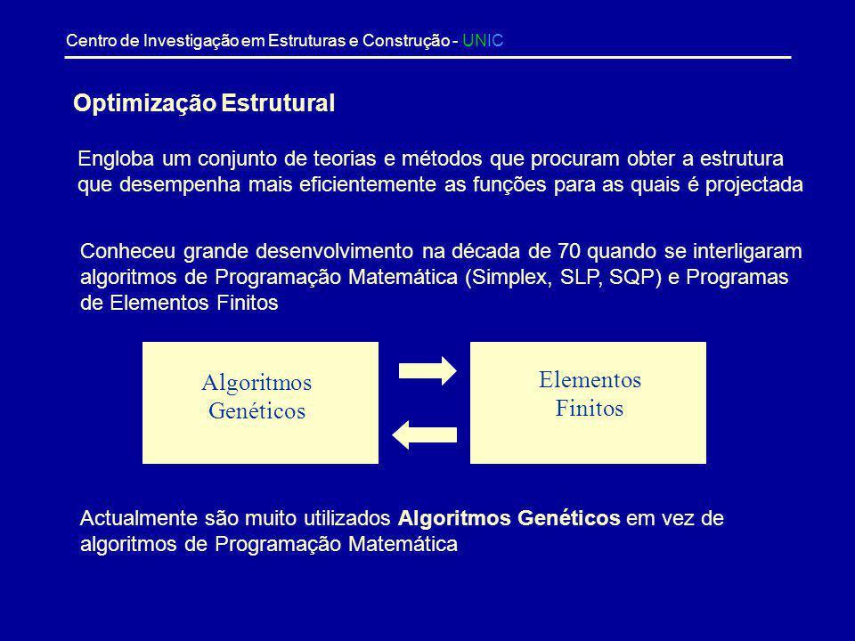 Centro de Investigação em Estruturas e Construção - UNIC Sumário - Optimização Estrutural - Algoritmos Genéticos - Fiabilidade Estrutural - Método de