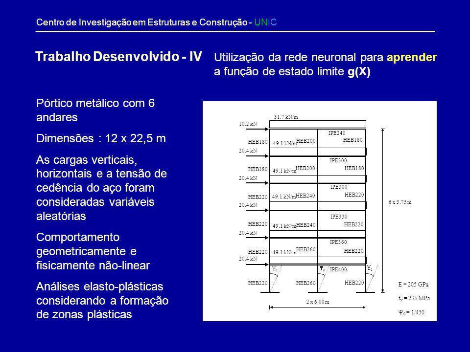 Centro de Investigação em Estruturas e Construção - UNIC Número de amostrasProbabilidade de colapsoTempo de cálculo (segundos) 10 6 1,43 10 5 22 10 7