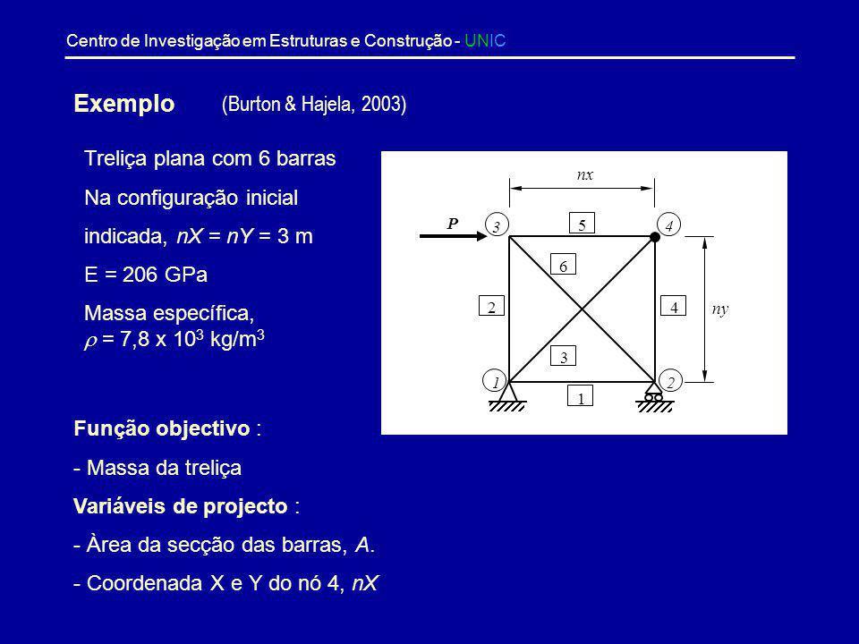 Centro de Investigação em Estruturas e Construção - UNIC Trabalho Desenvolvido - V Optimização com constrangimentos de fiabilidade Na optimização com