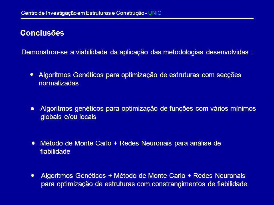 Centro de Investigação em Estruturas e Construção - UNIC Variável / Função objectivo Algoritmo genético + Rede neuronal Burton & Hajela Diferença (%)