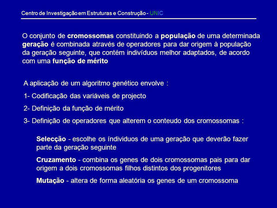 Centro de Investigação em Estruturas e Construção - UNIC Algoritmos Genéticos Baseados no trabalho original de Holland, que utilizou representações bi