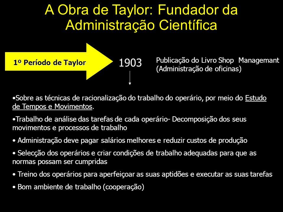 A Obra de Taylor: Fundador da Administração Científica 1º Período de Taylor 1º Período de Taylor 1903 Publicação do Livro Shop Managemant (Administração de oficinas) Sobre as técnicas de racionalização do trabalho do operário, por meio do Estudo de Tempos e Movimentos.